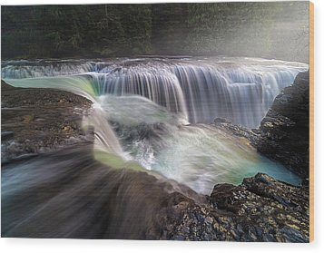 At The Top Of Lower Lewis River Falls Wood Print by David Gn