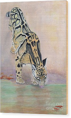 At The Waterhole - Painting Wood Print by Veronica Rickard
