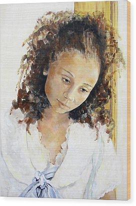 At The Window Wood Print by Jodie Marie Anne Richardson Traugott          aka jm-ART