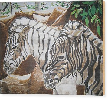 At The Zoo Wood Print by Julie Todd-Cundiff