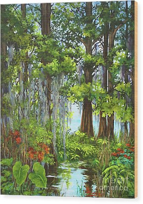 Wood Print featuring the painting Atchafalaya Swamp by Dianne Parks