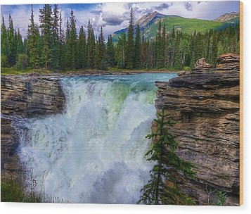 Athabasca Falls, Ab  Wood Print by Heather Vopni
