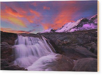 Wood Print featuring the photograph Athabasca On Fire by Dan Jurak