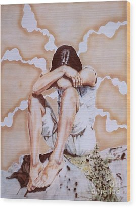 Athabaskan Girl On A Rock Wood Print by Ron Bissett