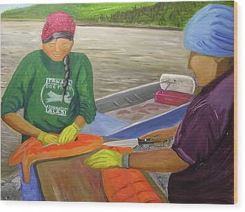 Athabaskan Women Cutting Salmon Wood Print by Amy Reisland-Speer