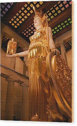 Athena With Nike Wood Print by Kristin Elmquist