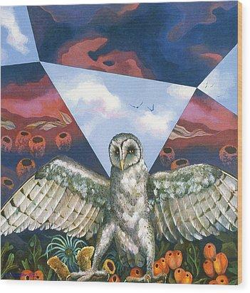 Athena's Owl Wood Print by Kyra Belan