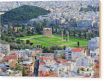 Athens - Temple Of Olympian Zeus Wood Print by Hristo Hristov
