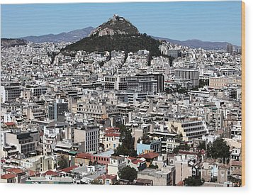 Athens City View Wood Print by John Rizzuto