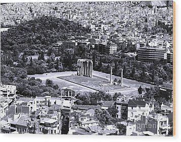 Athens Cityscape Iv Wood Print by John Rizzuto