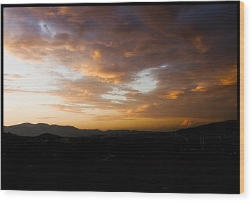Athens Sunset Wood Print by Julia Bridget Hayes