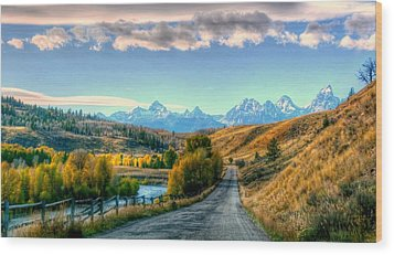 Atherton View Of Tetons Wood Print by Charlotte Schafer