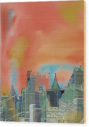 Atlanta Abstract After The Tornado Wood Print by Ann Tracy
