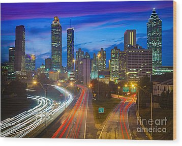 Atlanta Downtown By Night Wood Print by Inge Johnsson