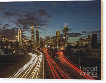 Wood Print featuring the photograph Atlanta Downtown Infusion Atlanta Sunset Cityscapes Art by Reid Callaway