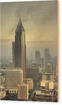 Atlanta Skyline At Dusk Wood Print by Robert Ponzoni