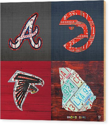 Atlanta Sports Fan Recycled Vintage Georgia License Plate Art Braves Hawks Falcons Plus State Map Wood Print