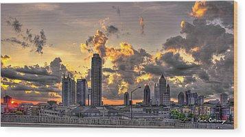 Atlanta Sunrise On Atlantic Station Commons And Midtown Atlanta Wood Print by Reid Callaway