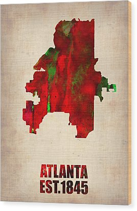 Atlanta Watercolor Map Wood Print by Naxart Studio