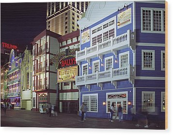 Wood Print featuring the photograph Atlantic City Boardwalk At Night by Sally Weigand