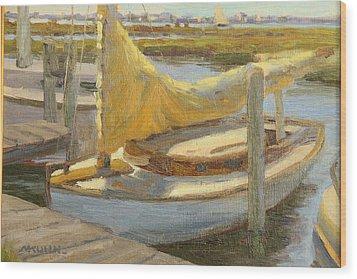 Atlantic City Cat Boat Wood Print by Marianne Kuhn