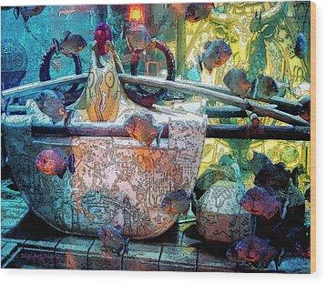 Atlantis Aquarium In Watercolor Wood Print by DigiArt Diaries by Vicky B Fuller