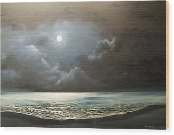 Wood Print featuring the painting Atlantis Moon by Ken Ahlering