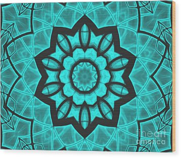Atlantis Stained Glass Wood Print by Roxy Riou