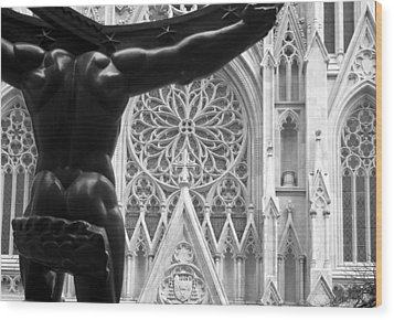 Atlas And St. Patrick's Cathedral Wood Print