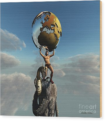 Atlas Greek God Wood Print by Corey Ford