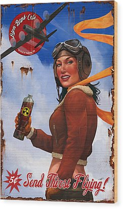 Wood Print featuring the digital art Atom Bomb Cola Send Thirst Flying by Steve Goad