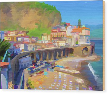 Atrani Italy 01 Wood Print by Wally Hampton
