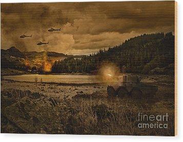 Attack At Nightfall Wood Print by Amanda Elwell
