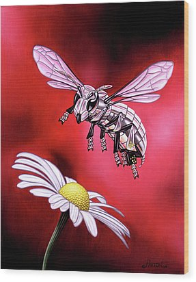 Attack Of The Silver Bee Wood Print