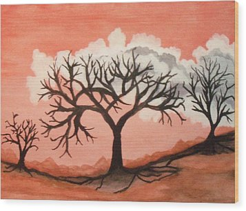 Atumn Trees Wood Print by Connie Valasco