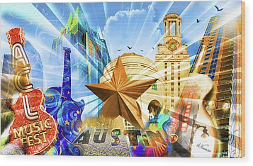 Atx Montage Wood Print by Andrew Nourse