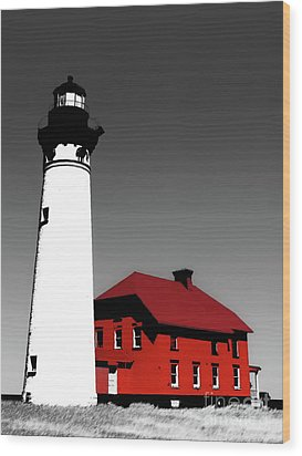 Au Sable Point Light Sc Wood Print by Tim Richards