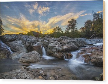 Wood Print featuring the photograph Auasble River Sunset 2 by Mark Papke