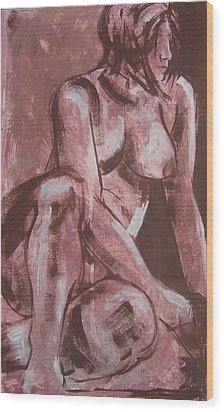 Aubergine Female Nude Wood Print by Joanne Claxton