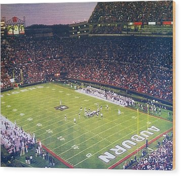 Auburn Football Wood Print by Elizabeth Coats