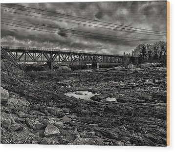 Auburn Lewiston Railway Bridge Wood Print by Bob Orsillo