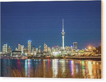 Auckland At Dusk Wood Print