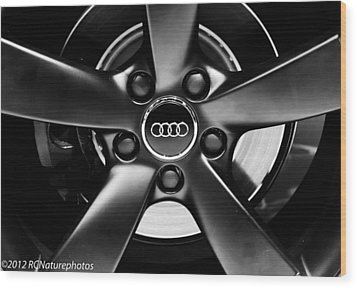 Audi Wheel  Monochrome Wood Print by Rachel Cohen