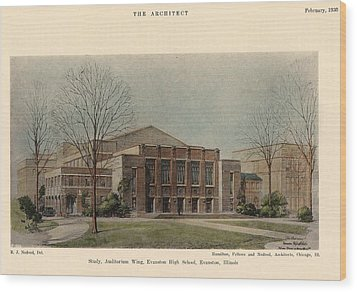 Auditorium Of Evanston High School. Evanston Illinois 1930 Wood Print by Hamilton and Fellows and Nedved