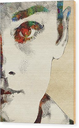 Audrey Half Face Portrait Wood Print by Mihaela Pater