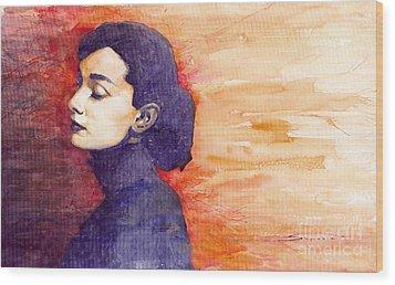 Audrey Hepburn 1 Wood Print by Yuriy  Shevchuk