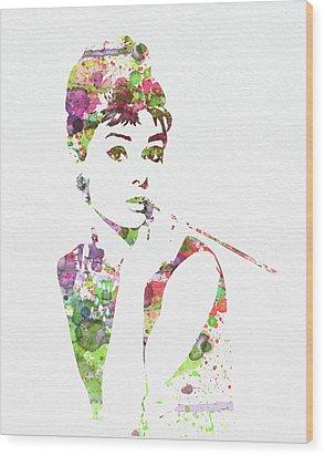 Audrey Hepburn 2 Wood Print by Naxart Studio