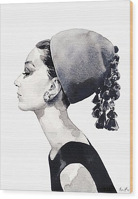 Audrey Hepburn For Vogue 1964 Couture Wood Print by Laura Row