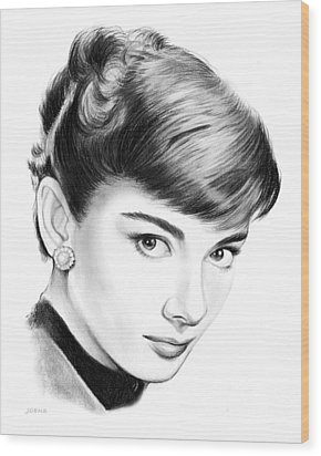 Audrey Hepburn Wood Print by Greg Joens