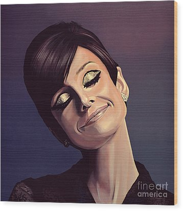 Audrey Hepburn Painting Wood Print by Paul Meijering